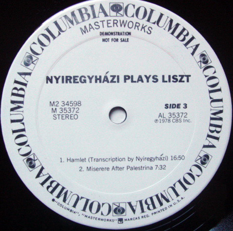 Columbia / ERVIN NYREGYHAZI, - All Liszt Program, MINT, 2LP 1st Press White Promo Copy!