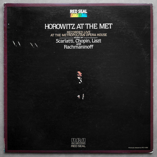 RCA Digital/Horowitz At The Met/Rachmaninoff - Prelude in G Minor Op.23 No.5/Scarlatti Six Sonatas, Chopin, Liszt / NM