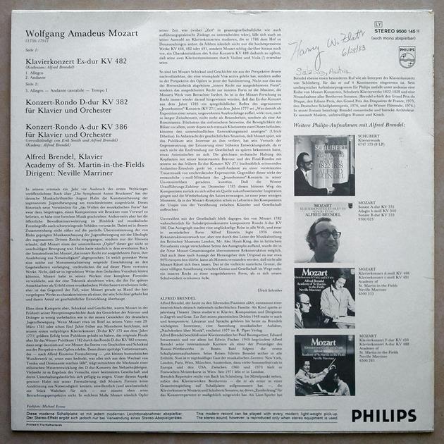 Philips/Brendel/Mozart - Piano Concerto in E Flat K.482, Rondos K.382 & K.386 / NM