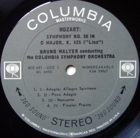 Columbia 2-EyYE / BRUNO WALTER, - Mozart Symphony No.36 Linz &  No.39, MINT!