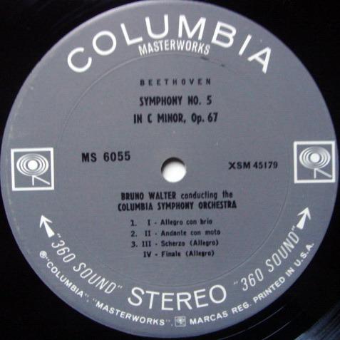 Columbia 2-EYE / BRUNO WALTER, - Beethoven Symphony No.5 & 4, EX!