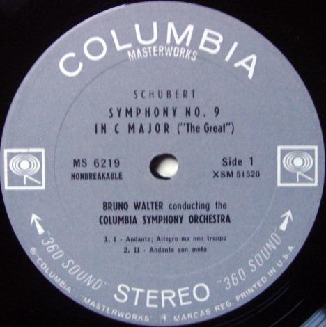 Columbia 2-EYE /, BRUNO WALTER, - Schubert Symphony No.9 The Great, NM!