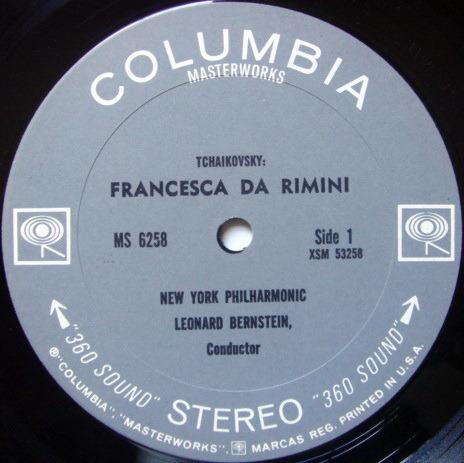 Columbia 2-EYE / LEONARD BERNSTEIN, - Tchaikovsky Capriccio Italien, Francesca da Rimini, NM!