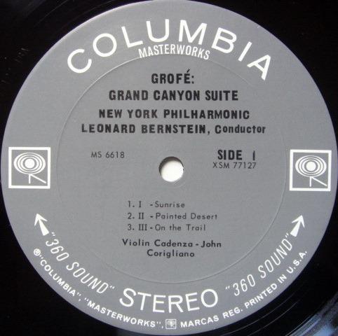 Columbia 2-EYE / LEONARD BERNSTEIN,  - Grofe Grand Canyon Suite,  MINT!