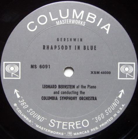 Columbia 2-EYE / LEONARD BERNSTEIN,  - Gershwin Rhapsody in Blue, NM!