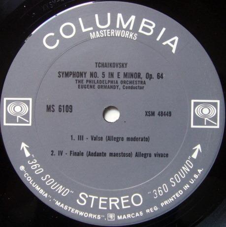 Columbia 2-EYE / EUGENE ORMANDY,  - Tchaikovsky Symphony No.5, EX!