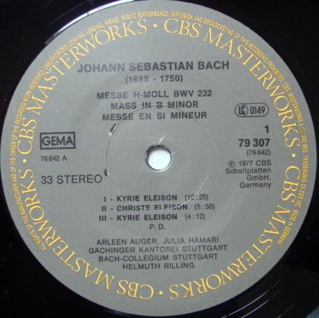 Columbia / HELMUTH RILLING, - Bach Mass in B Minor, MINT, 3LP Box Set!