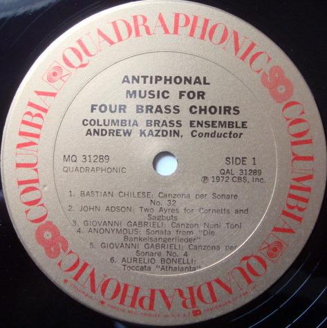 ★Audiophile★ Columbia Quadraphonic / KAZDIN, - Antiphonal Music for Four Brass Choirs, NM!