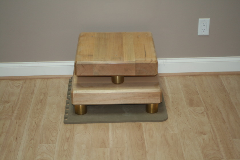Pair of Maple Shade Maple Plinths with triple point Mega Mount brass footers