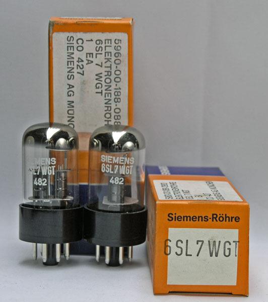 Siemens 2 Tubes 6SL7WGT NEW original boxed pair