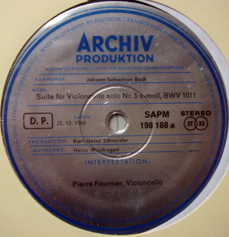 1st Press Archiv / FOURNIER, - Bach Suites for Cello Solo No.5 & 6, MINT!