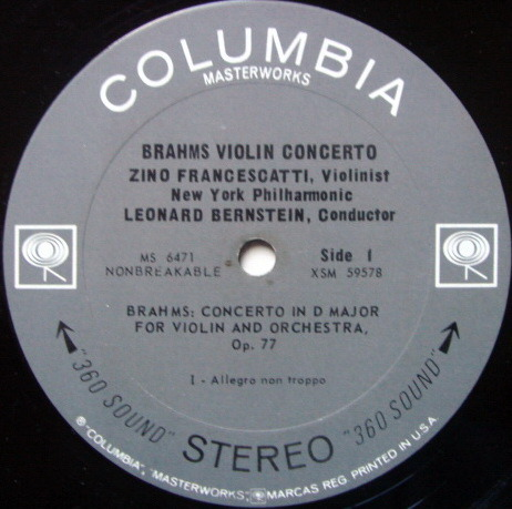 Columbia 2-EYE / FRANCESCATTI-BERNSTEIN, - Brahms Violin Concerto, NM!