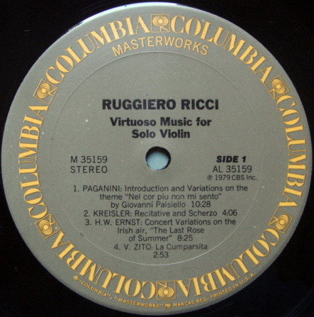 Columbia / RUGGIERO RICCI, - Virtuoso Music for Solo Violin, MINT, Promo Copy!