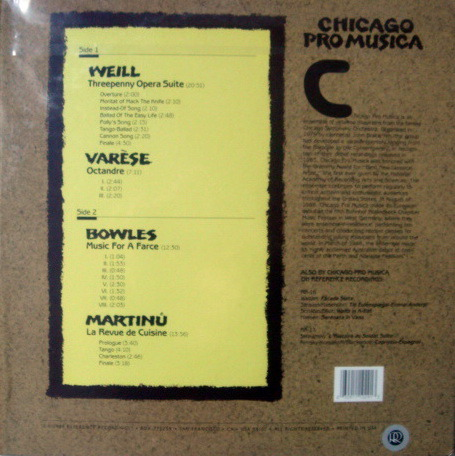 ★Sealed Audiophile 180g★ Reference Recordings / - CHICAGO PRO MUSICA, Weil Threepenny Opera Suite!