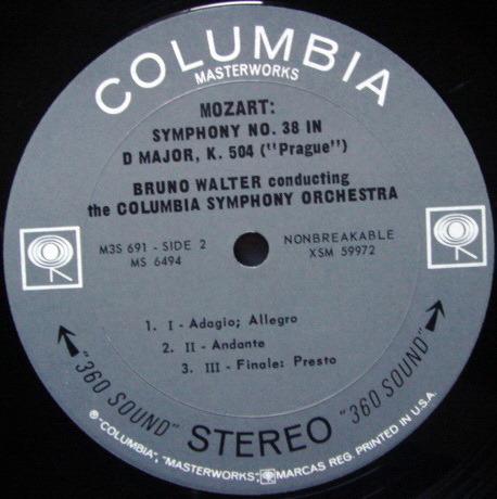 Columbia 2-EYE / BRONO WALTER, - Mozart The Last Six Symphonies, MINT, 3LP Box Set!