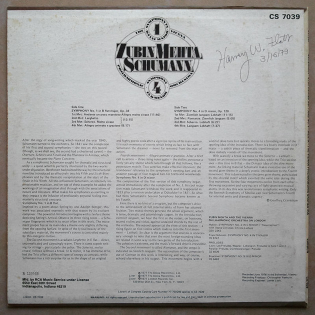 London/Mehta/Schumann - Symphonies Nos. 1 & 4 / NM