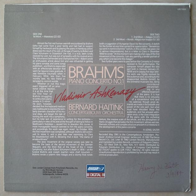 London Digital/Ashkenazy/Brahms - Piano Concerto No. 1