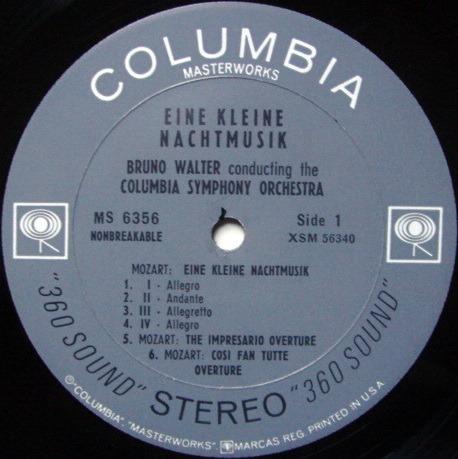 Columbia 2-EYE / BRONO WALTER, - Mozart Eine Kleine Nachtmusik, NM!