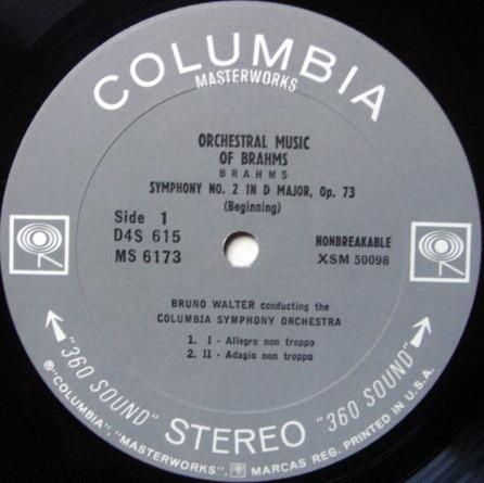 Columbia 2-EYE / BRONO WALTER, - Brahms Symphony No.2, EX!