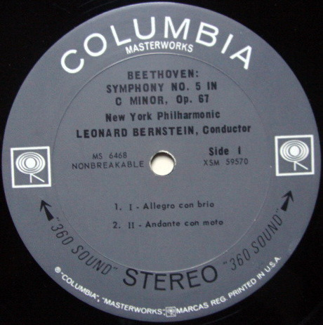 Columbia 2-EYE / BERNSTEIN, - Beethoven Symphony No.5, MINT!
