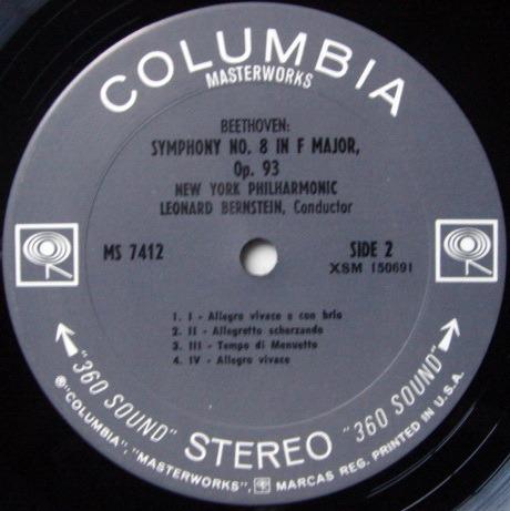 Columbia 2-EYE / BERNSTEIN, - Beethoven Symphonies No.4 & 8, NM!