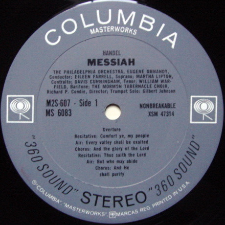 Columbia 2-EYE / ORMANDY, - Handel Messiah, MINT, 2 LP Set!