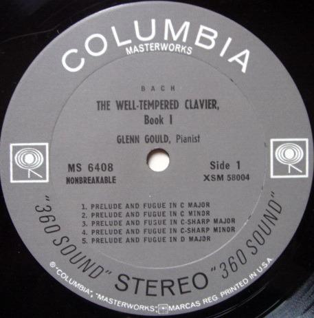 Columbia 2-EYE / GLENN GOULD, - Bach Well-Tempered Clavier Book 1, MINT!