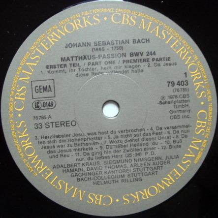 Columbia / HELMUTH RILLING, - Bach St. Matthew Passion, MINT, 4LP Box Set!