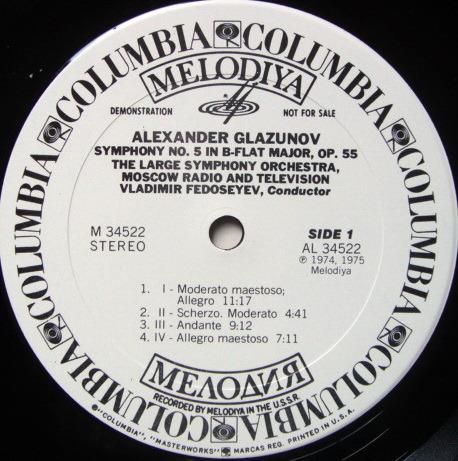 Columbia Melodiya / FEDOSEYEV, - Glazunov Symphony No.5, MINT, White Promo Copy!