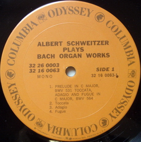 Columbia Odyssey / ALBERT SCHWEITZER - plays Bach Organ Works, EX, 2LP Box Set!