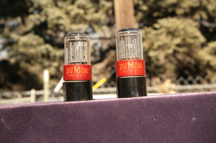 RCA labeled Dumont 5691 / 6SL7 Red base getting rare! Original boxes!