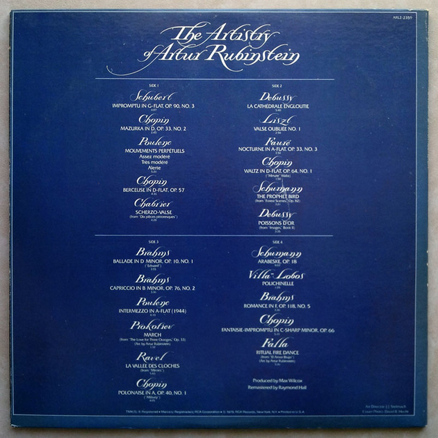 RCA / Rubinstein - The Artistry of - Artur Rubinstein / EX