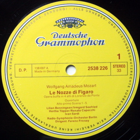 DG / FRICSAY, - Mozart The Marriage of Figaro, MINT, 3LP Box Set!