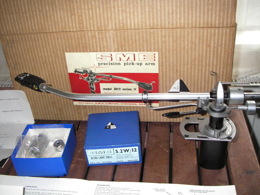 "SME Precision pick-up arm mint boxed  3012 series II 12"" inches Tonearm SME Headshell, Leads & plugs + manuals"