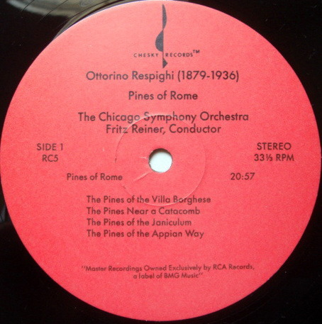 ★Audiophile★ Chesky / REINER, - Respighi Pines-Fountains of Rome, MINT(OOP)!