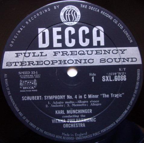DECCA SXL-WB-ED1 / MUNCHINGER, - Schubert Symphonies No.4 & 5, NM!