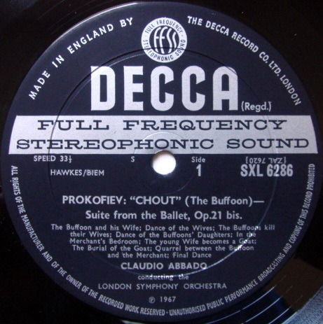 DECCA SXL-WB-ED2 / ABBADO, - Prokofiev Romeo & Juliet, Chout, NM!