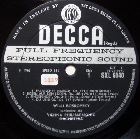 DECCA SXL-WB-ED2 / BOSKOWSKI, - Tales from Vienna Woods, NM!