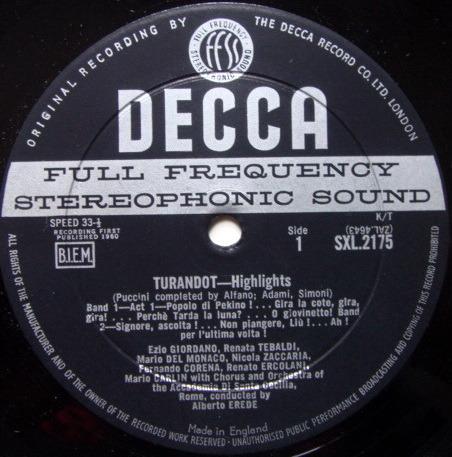 DECCA SXL-WB-ED1 / TEBALDI-DEL MONACO, - Puccini Turandot Highlights, NM!