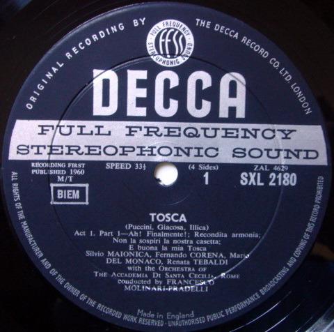 DECCA SXL-WB-ED1 / TEBALDI-DEL MONACO, - Puccini Tosca, NM!
