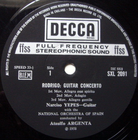 DECCA SXL-NM-ED5 / YEPES-ARGENTA, - Falla Nights in the Gardens of Spain, EX!
