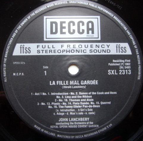 DECCA SXL-NB-HD2 / LANCHBERY, - Herold La Fille Mal Gardee Excerpts, MINT, TAS Recommended!