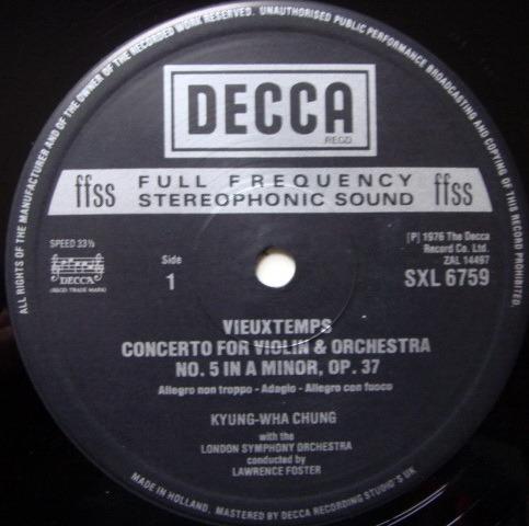 DECCA SXL-NB-HD1 / CHUNG-FOSTER, - Saint-Saens/Vieuxtemps Violin Concertos, MINT!