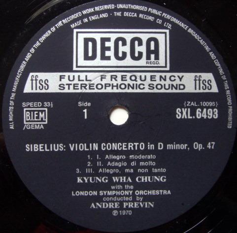 DECCA SXL-WB-ED4 / CHUNG-PREVIN, - Tchaikovsky-Sibelius Violin Concertos, NM-!