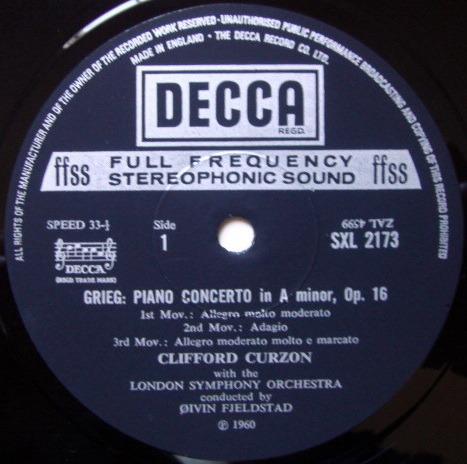 DECCA SXL-NB-ED4 / CURZON-BOULT, - Grieg Piano Concerto, NM!