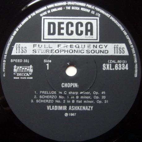DECCA SXL-NB-ED4 / ASHKENAZY, - Chopin 4 Scherzos, MINT!