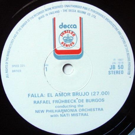 DECCA JUBILEE / DE BURGOS, - Falla El Amor Brujo, MINT!