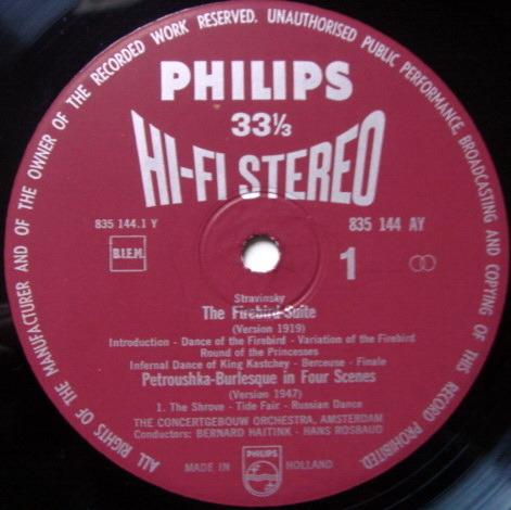 ★1st Press★ PHILIPS HI-FI STEREO / HAITINK, - Stravinsky Firebird/Petroushka, NM!