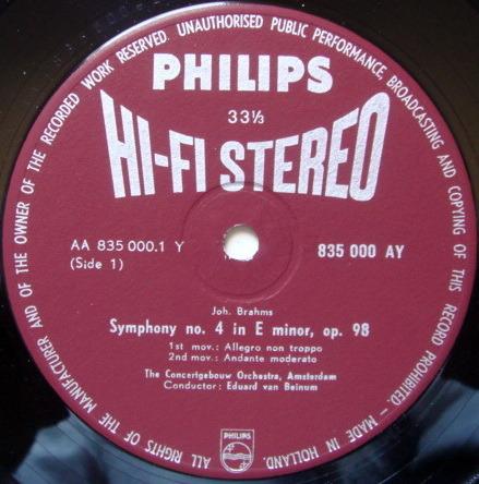 ★1st Press★ PHILIPS HI-FI STEREO / VAN BEIMUM, - Brahms Symphony No.4, NM!