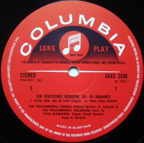 UK COLUMBIA SAX SEMI-CIRCLE / KLEMPERER, - Brahms A German Requiem, NM, 2LP Set!
